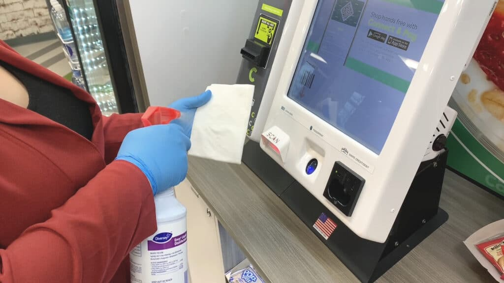Cleaning a kiosk