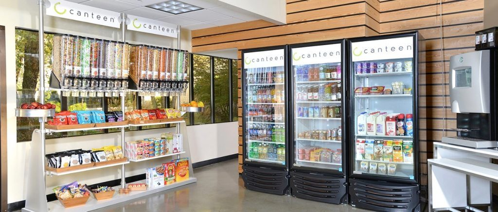 An image of a pantry with lots of snack and drink options