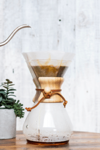 using a pour over coffee maker with filter