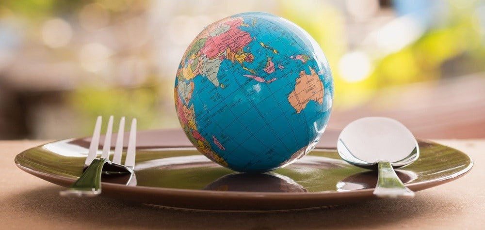 An image of a globe resting on a dining plate