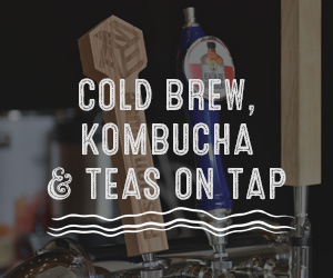 Cold brew, kombucha, and teas on top